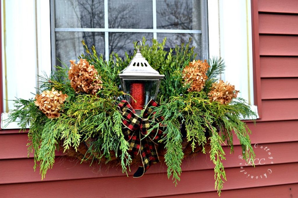 Foraged Christmas Window Boxes - Red Cottage Chronicles