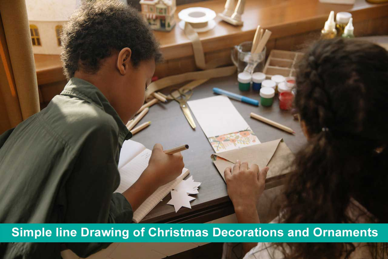 Simple line Drawing of Christmas Decorations and Ornaments Step by Step Images