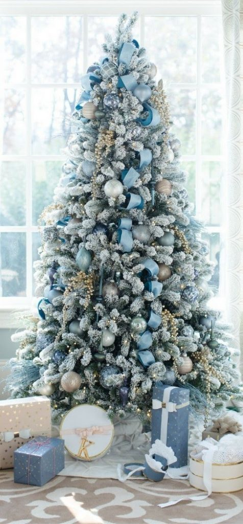 Make It a Blue Christmas - Christmas Decorations For Snowy Tree