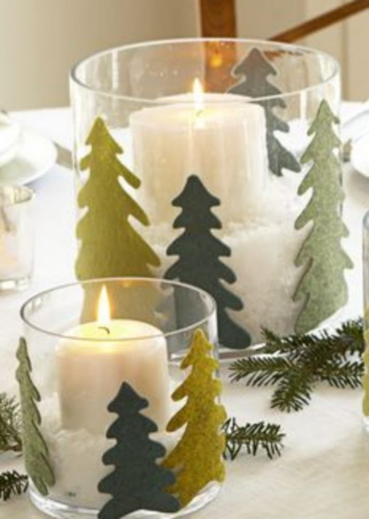 Felt Tree-Topped Hurricanes - Craft Ideas For Christmas Table Decorations
