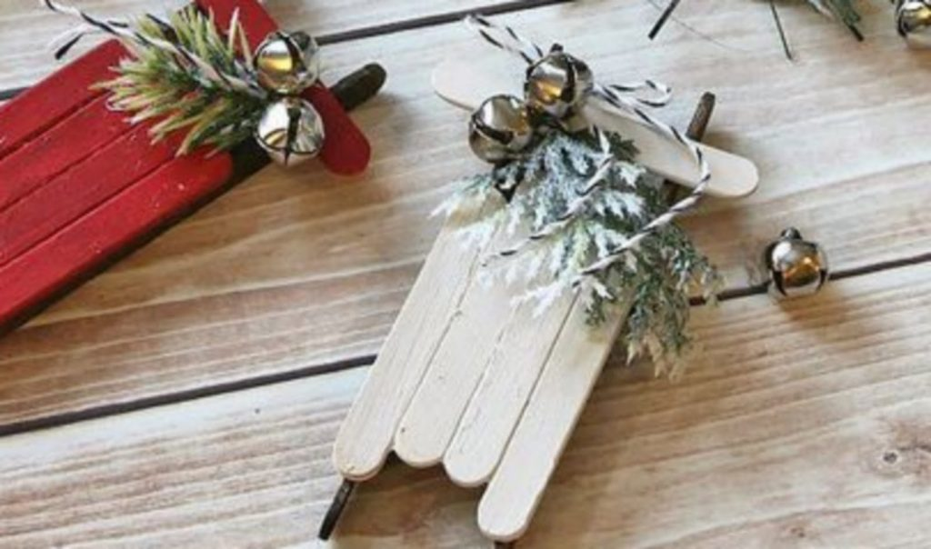 Stick Sled Ornament - Craft Ideas For Christmas Ornaments