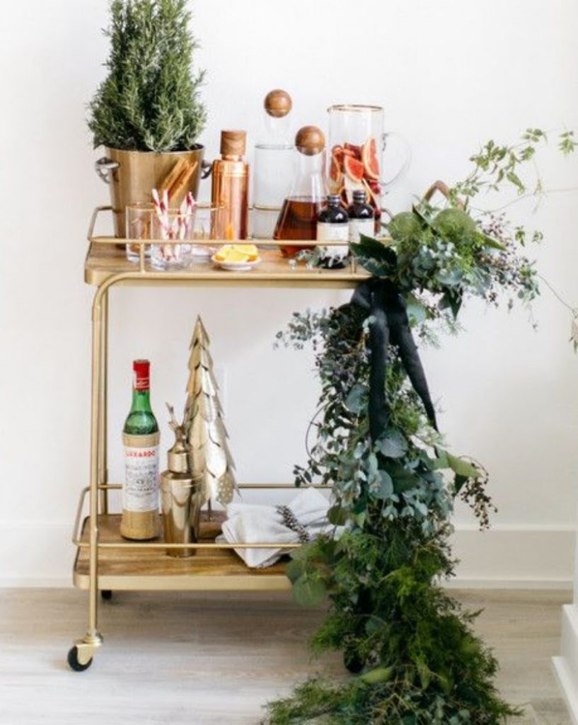 Stock Your Bar Cart - Best Ideas For Christmas Party Decorations