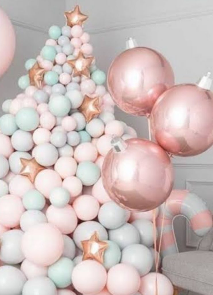 Create a Balloon Tree - Christmas Party Decoration Ideas For Schools