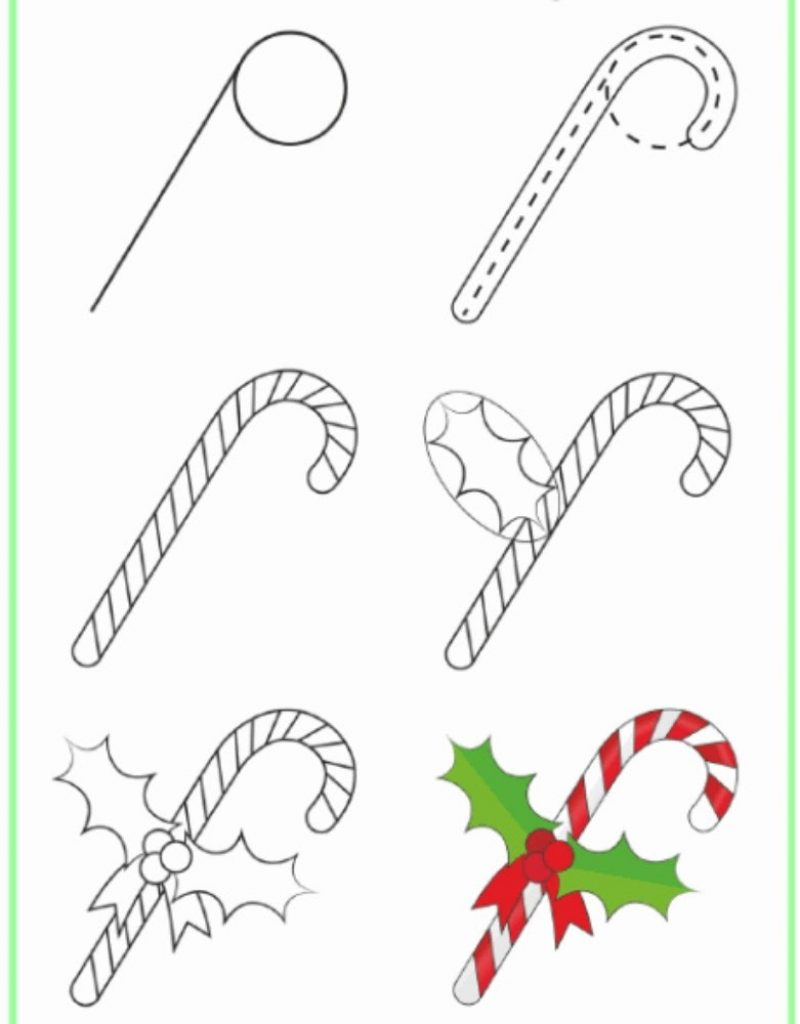 Let's make a candy cane Drawing of Christmas Decorations