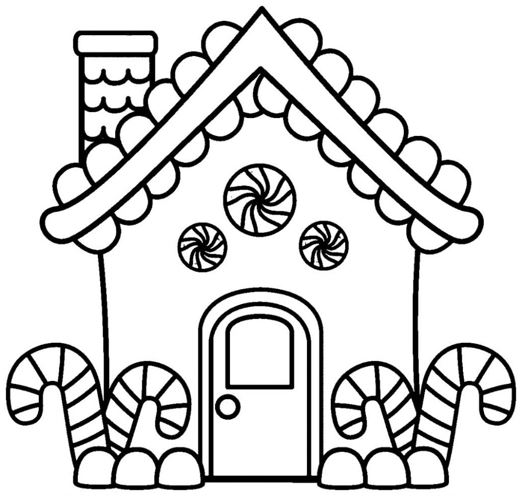 Gingerbread House Drawing of Christmas Decorations