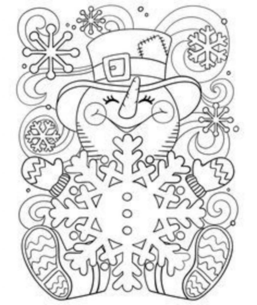 Snowman with snowflake Drawing of Christmas Decorations