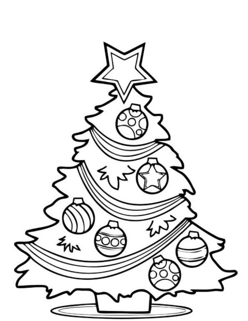 Cute tree Drawing of Christmas Decorations