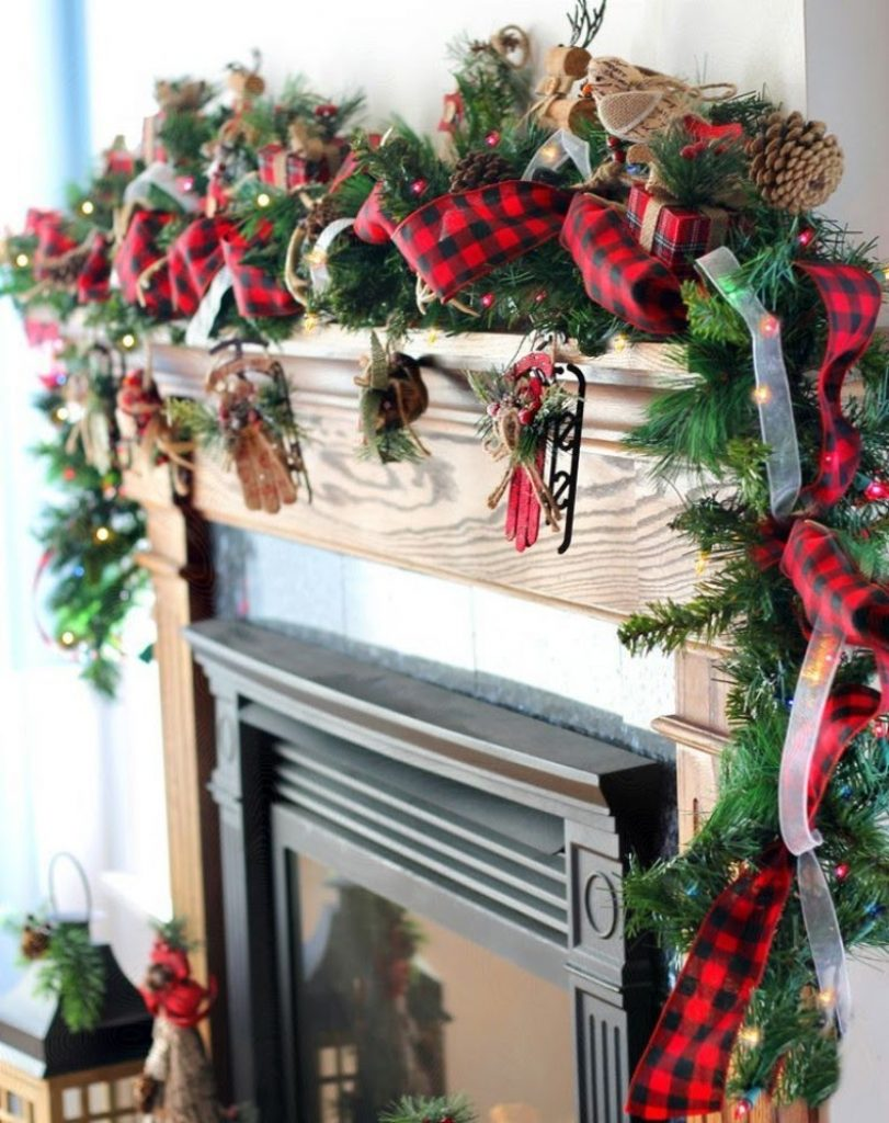 Spruce Up a Garland With Plaid Ribbons - Homemade Christmas Wall Decorations