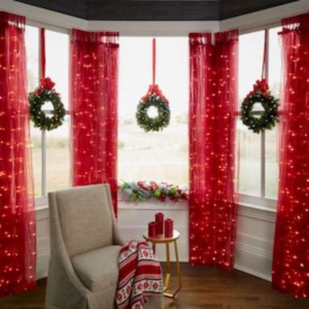 Wreath and Curtain - Home With Christmas Decorations