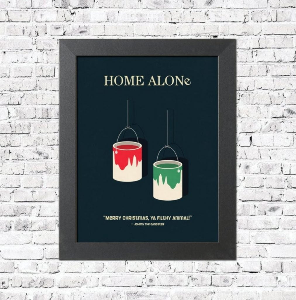 Minimalist Movie Poster Print - Home With Christmas Decorations