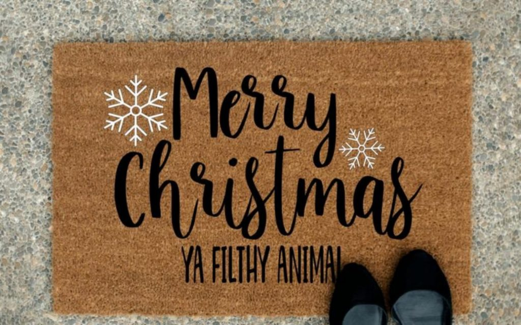 Home Alone Door Mat - Home With Christmas Decorations