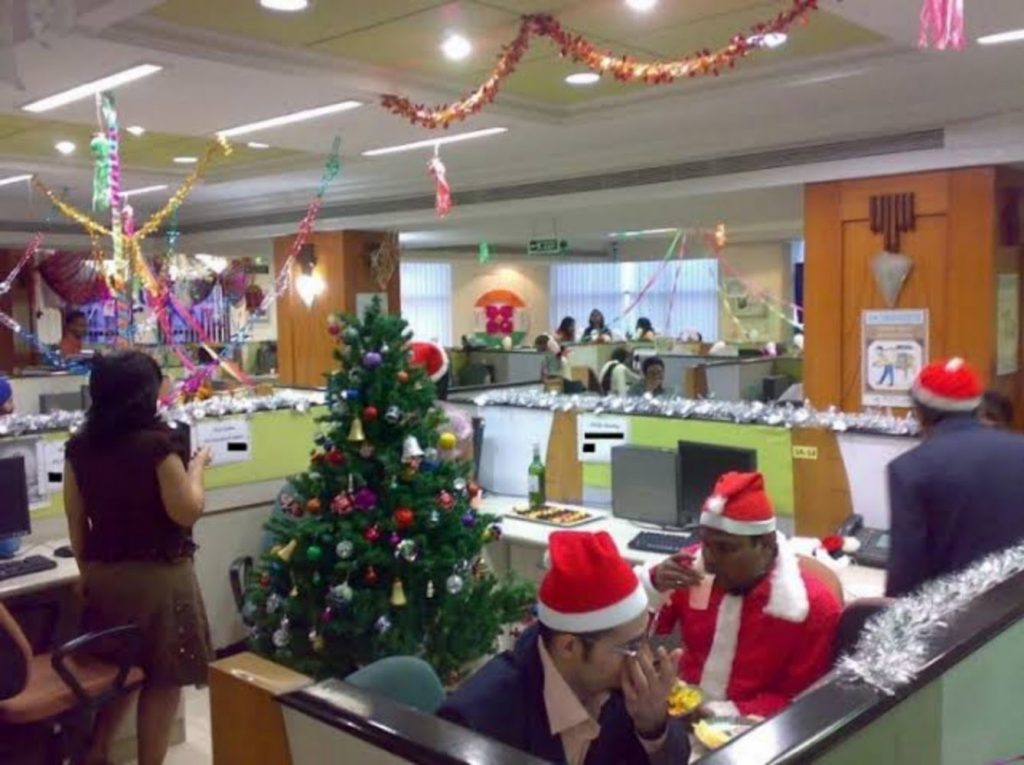 Color Pop Christmas Decor - Best Christmas Decoration Ideas for indoor Office