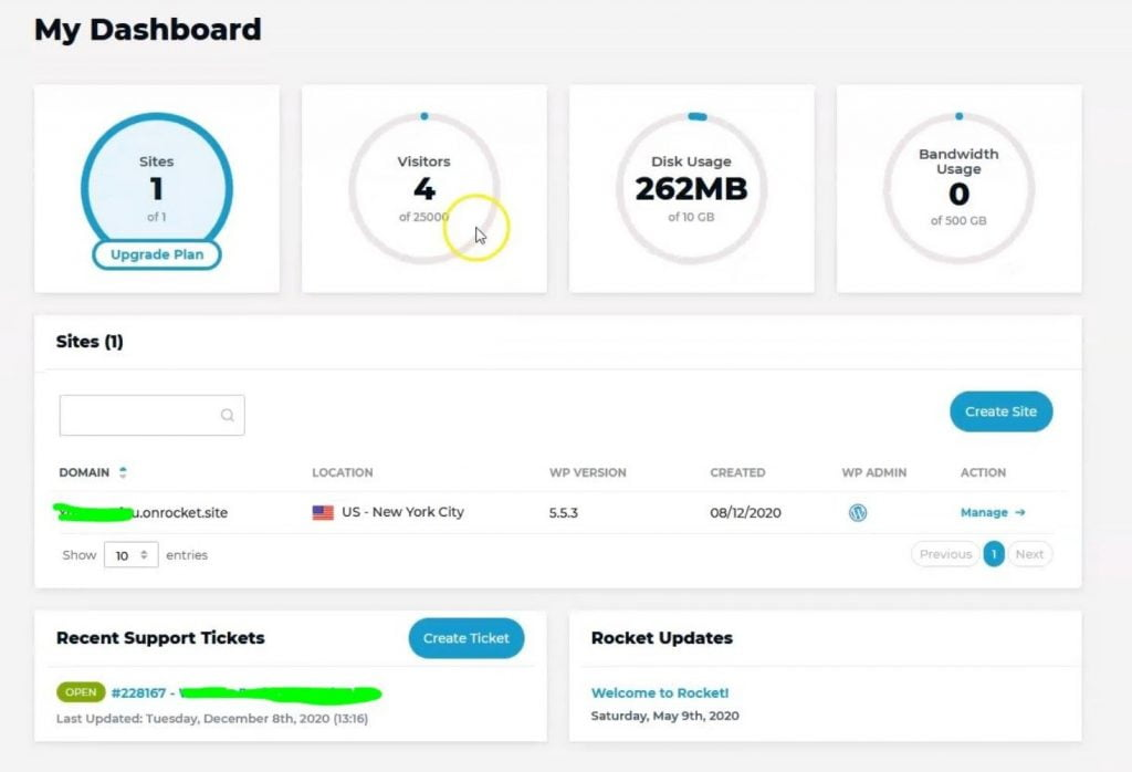 rocket net hosting dashboard