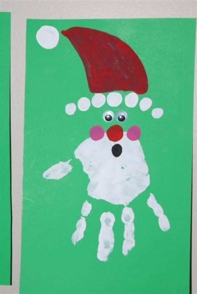 Santa On Your Hand - Christmas Card Crafts For Babies