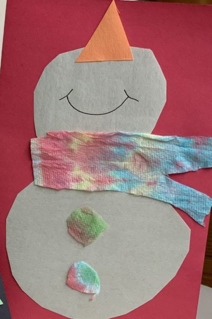 Tie-Dye Snowman Card - Christmas Card Crafts For Babies