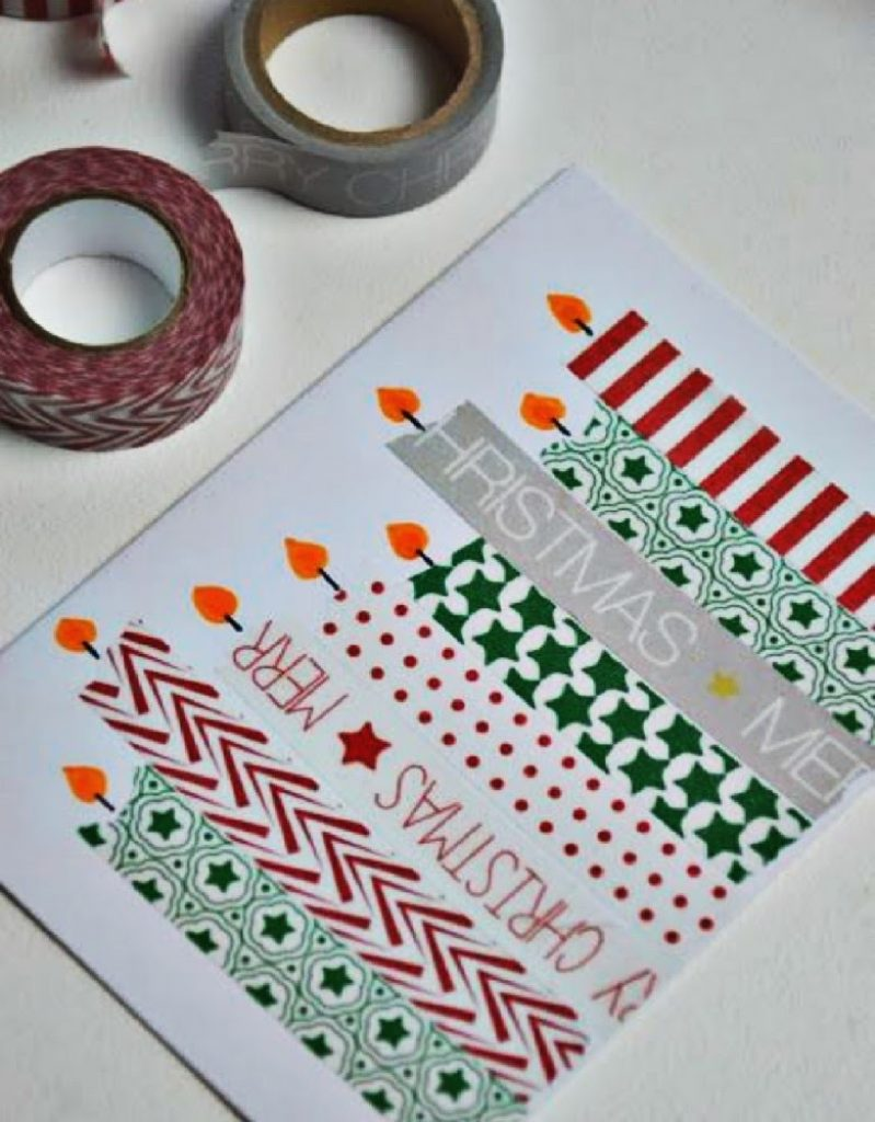 Washi Tape Candles Christmas Card Crafts For Babies