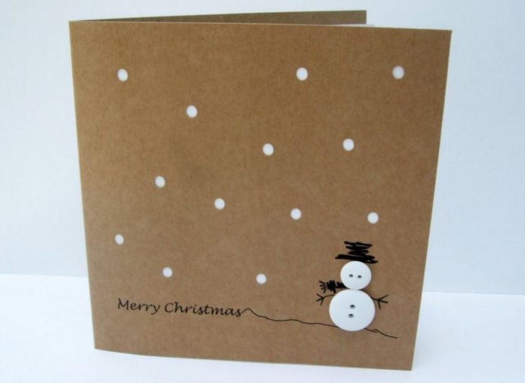 Button Snowman Card Christmas Card Crafts For Babies