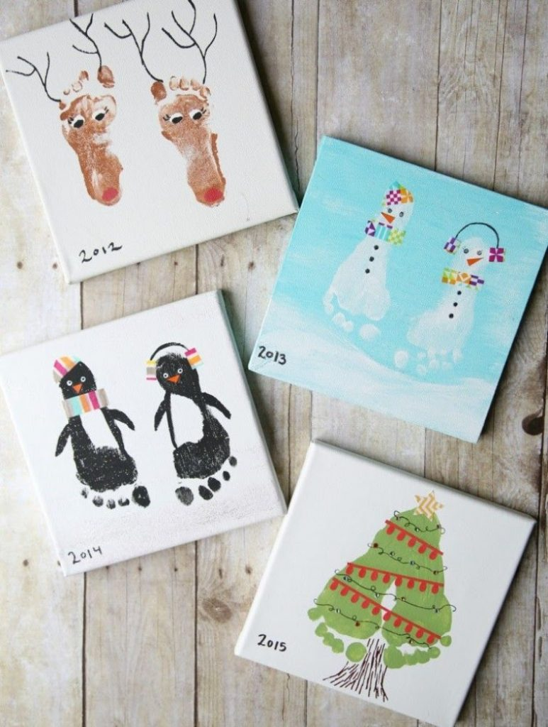 Cards With Cute Feets Christmas Card Crafts For Babies