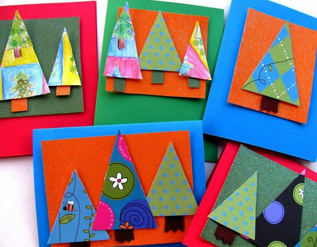 Scrapbook Paper Tree Card Christmas Card Crafts For Preschoolers