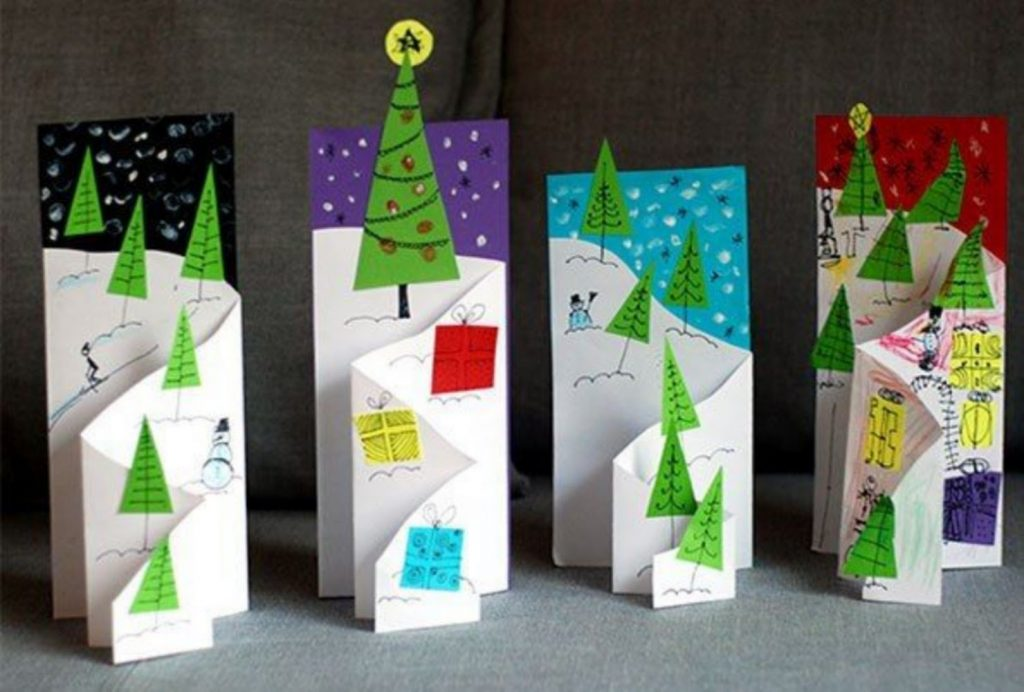 Folding Scenery Card Christmas Card Crafts For Preschoolers