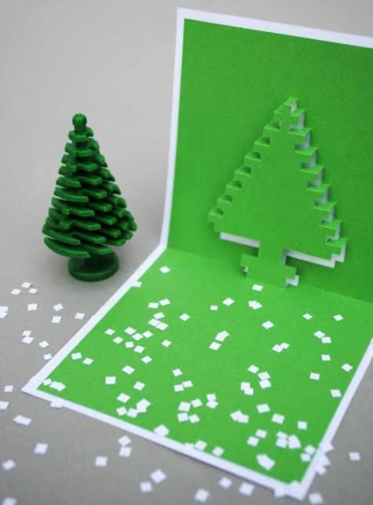 Pixel Pop-Up Card Christmas Card Crafts For Toddlers