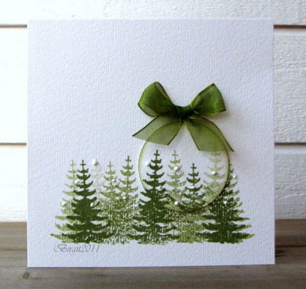 Classy Green Card Christmas Card Craft For Adults