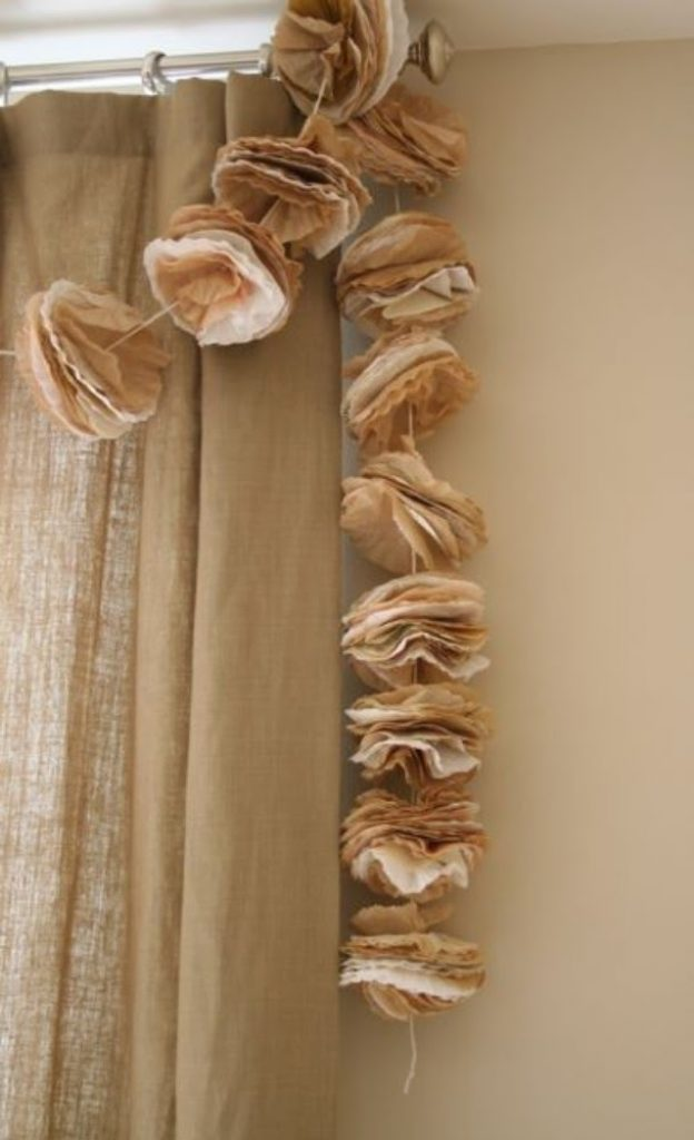 Coffee Filters Garland Christmas Decorations Handmade Paper
