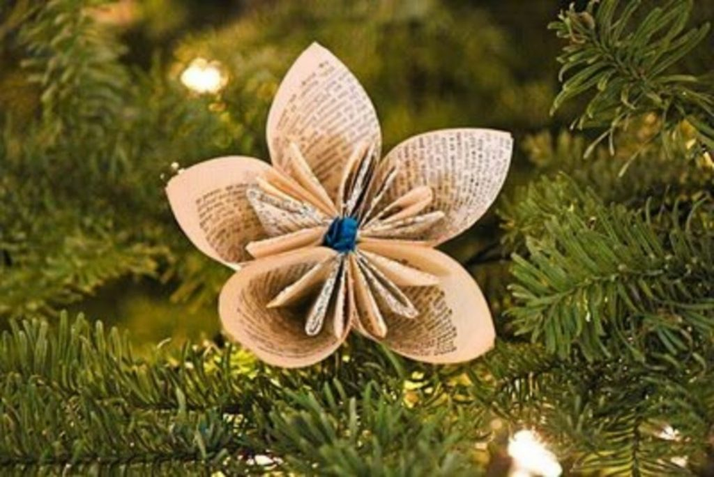 Paper Dictionary Flowers - Christmas Decorations Handmade Paper