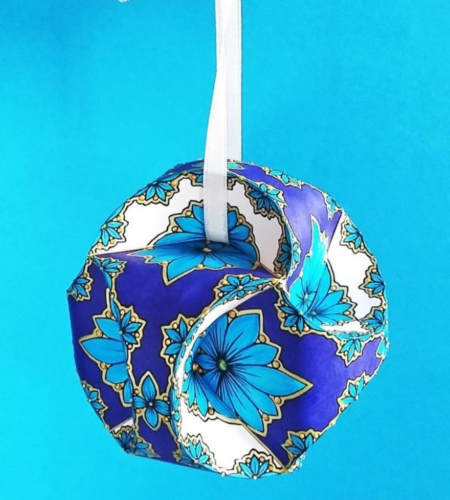 Paper Striped Baubles Christmas Decorations Handmade Paper