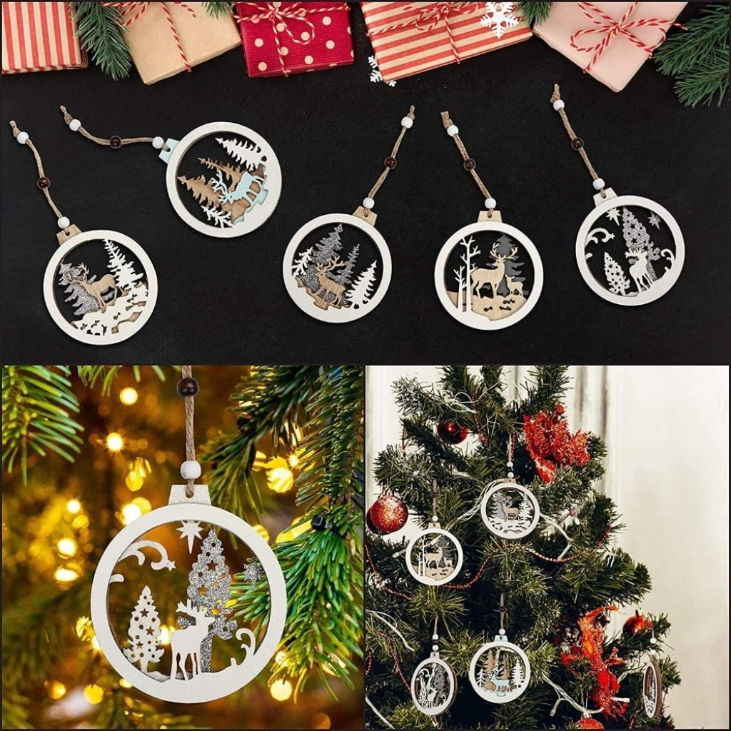 Wooden Ornaments - Christmas Tree Decoration Items Names