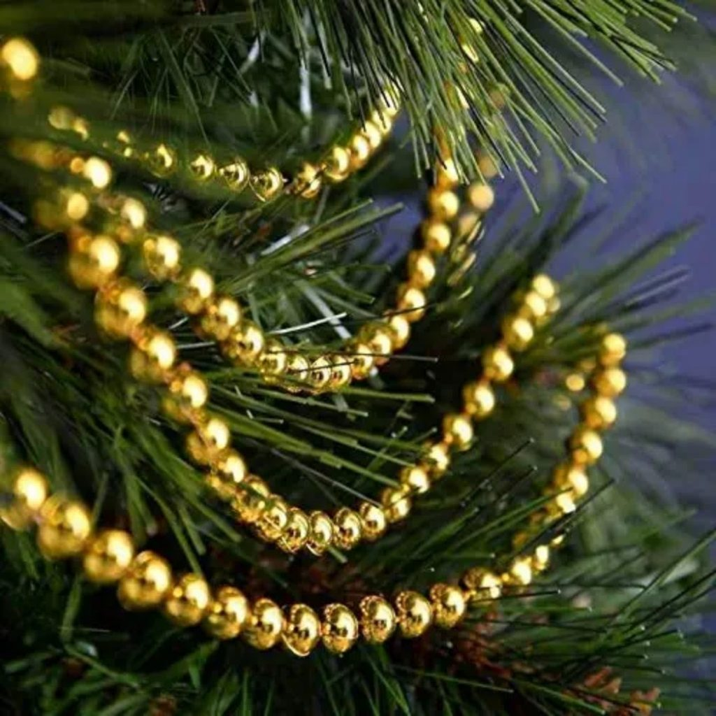 Gold coloured beads - Christmas Tree Decoration Items Names
