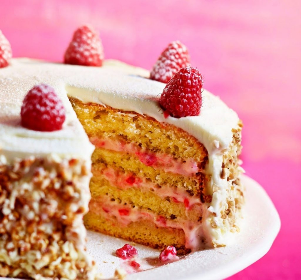 White chocolate and raspberry gateau