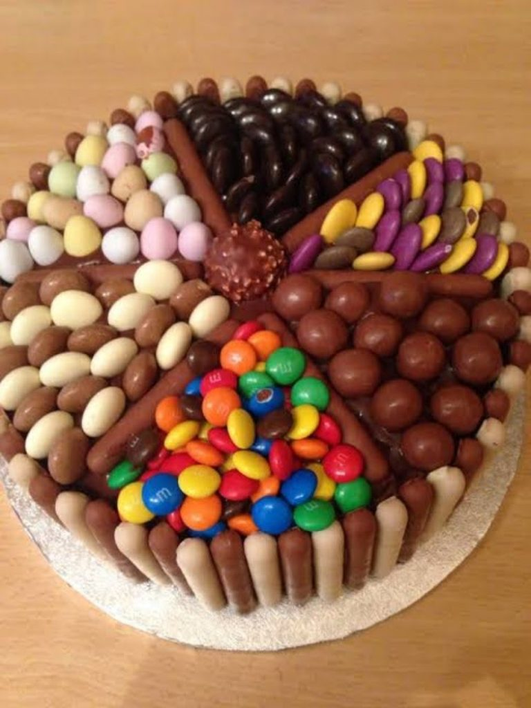 Pick and mix chocolate and sweet cake