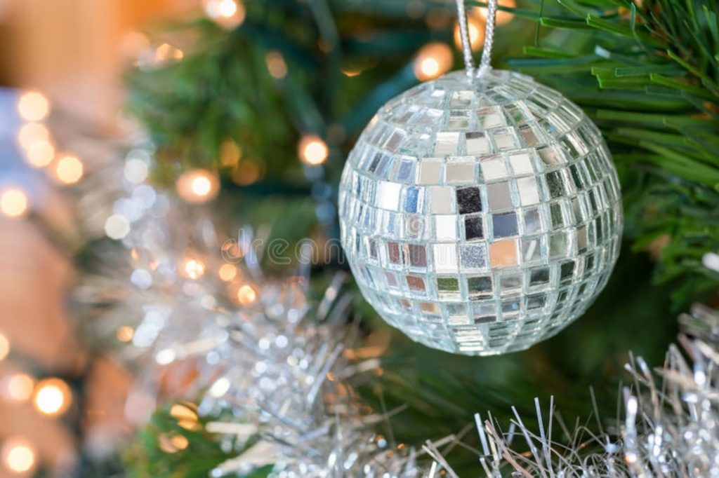Add Christmas Disco ball - Christmas decorations for dental office
