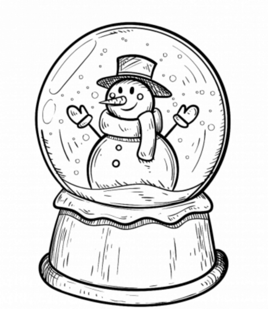 Winter Snow Globe Drawing of Christmas Decorations