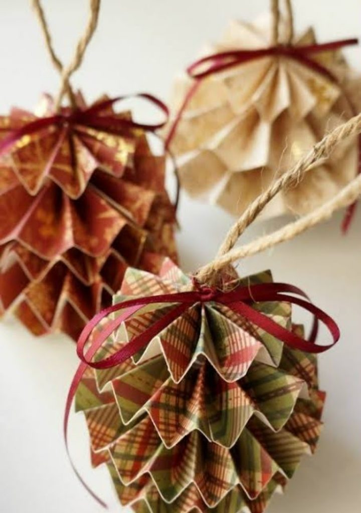 Craft Paper Ornaments - christmas decorations for office