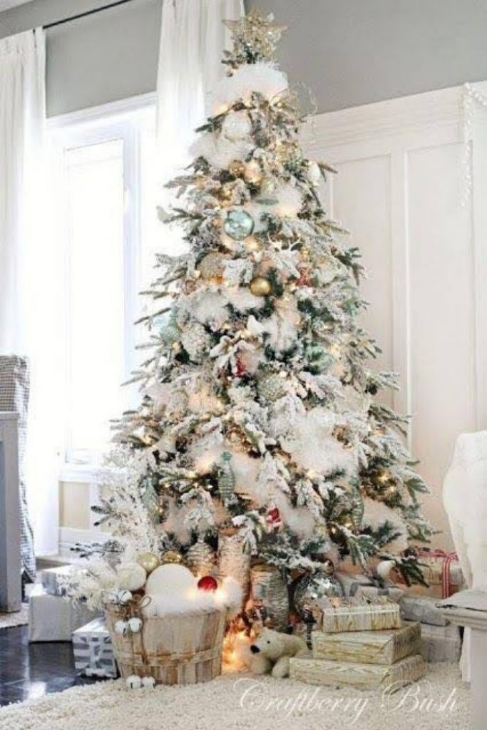 Snowy White Tree - Christmas Decorations For Snowy Tree