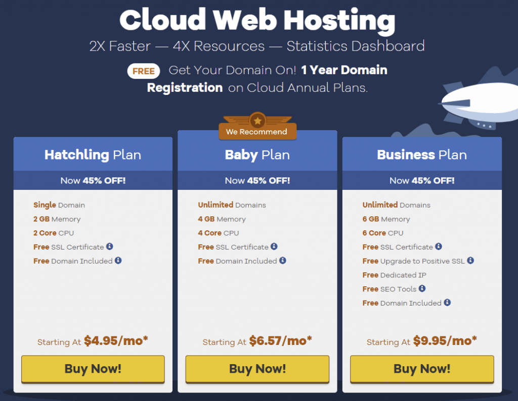 hostgator cloud web hosting plans