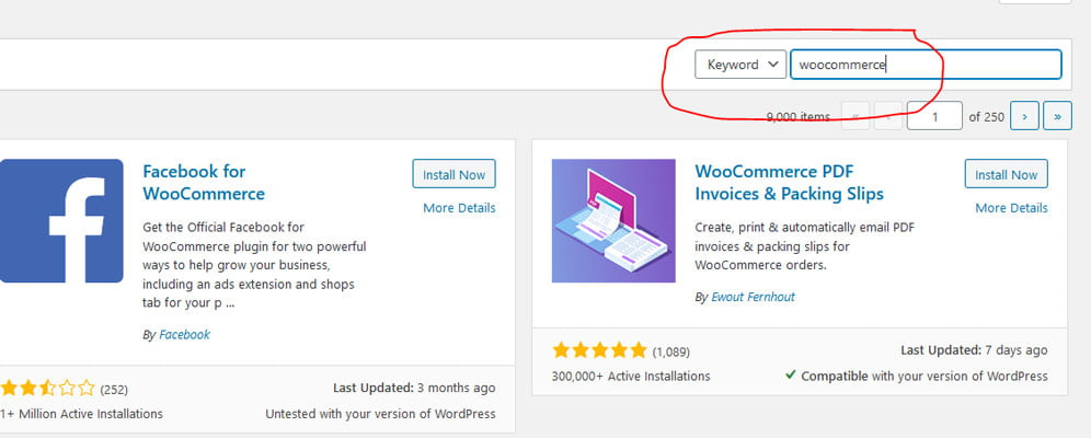 Woocommerce add plugins in search