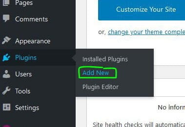 add plugin button in wordpress