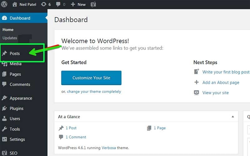 wordpress posts in dashboard