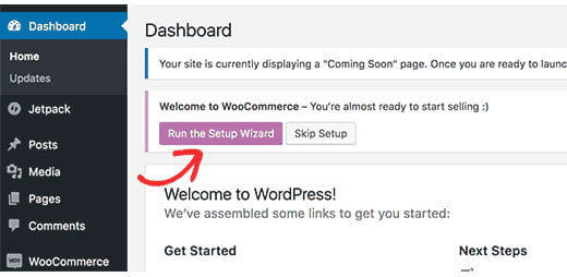 woocommerce run the setup wizard